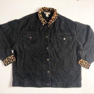 Vintage Cheetah Leopard Black Jean Jacket XL